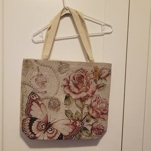 A&O International Rose & Butterfly Canvas Tote